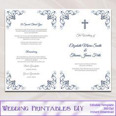 Purple Wedding Program Booklet Template, Diy Elegant Wisteria ...