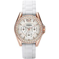 ES2810 Fossil Riley White Silicone Chronograph Ladies Watch Price $69