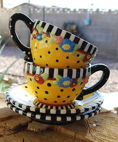 Mary Engelbreit tea cups and saucers Pottery Painting, Ceramic Painting, Ceramic Art, Stars Disney, Coffee Cups, Tea Cups, Kitchen Decor Themes, Mary Engelbreit, Teapots And Cups