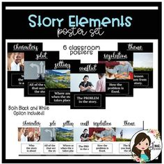 Story Elements Poster Set by J'me Designs Story Elements Posters, I Need You, Learning Activities, Teacher Pay Teachers, Curriculum, Classroom, Writing, Black And White, School