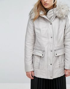 Miss Selfridge | Miss Selfridge Luxe Satin Parka Satin-style fabric Padded faux-fur lining for extra warmth Fixed hood Removable faux-fur hood trim Zip fastening with press-stud placket Functional pockets Regular fit - true to size Machine wash 48% Polyester, 46% Cotton, 6% Nylon
