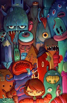 """Army Of Me"" digital illustration Monster Illustration, Art Et Illustration, Monster Art, Posca Art, Cute Monsters, Graffiti, 2d Art, Storyboard, Doodle Art"