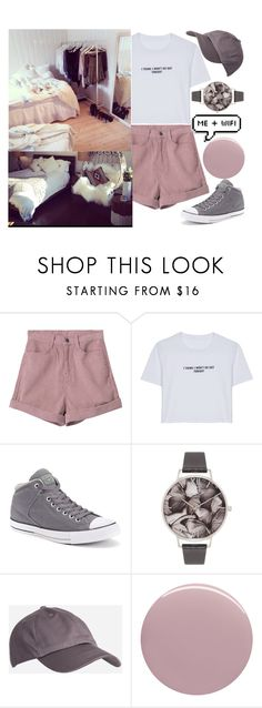 """I'd Rather Stay Home"" by jaqsancake ❤ liked on Polyvore featuring WithChic, Converse, Olivia Burton and Nails Inc."