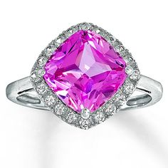 10K White Gold Lab-Created White  Pink Sapphire Ring