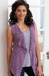 This vest is all about ease….easy to crochet, easy to wear and beautifully easy on the eyes! It's a comfortably loose style that is very wearable, so we've included sizes from Small to 3X. Crochet it in this lightweight yarn with a bit of sparkle and glam!