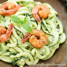 Creamy Avocado Zoodles with Chipotle Lime Shrimp | DizzyBusyandHungry.com…