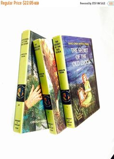 HOLIDAY SALE Vintage Nancy Drew Mystery Novel lot of three books author Carolyn Keene the secret of the old clock