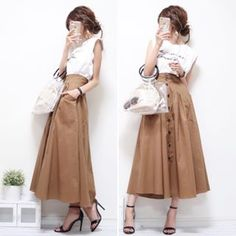 white and beige tones. spiced up with a subtle graphic tee with a buttoned up-skirt Japanese Fashion, Asian Fashion, Uniqlo Looks, Casual Work Outfits, Cute Outfits, Womens Workout Outfits, Skirt Outfits, Everyday Fashion, Casual Chic