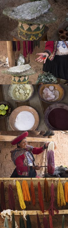 The hand dyeing process practiced by Peruvian indigenous artisans.    1. Color is pulled from flowers, vegetables and Cochinilla (an insect found on cacti)  2. Crush up ingredients  3. Mix with additional natural ingredients such as salt, aluminum and lime.  4. Boil color ingredients in pots and dip yarn in to absorb the color  5. Hang dry yarn
