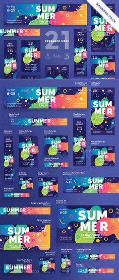 Summer Day Camp Banner Pack - Template PSD, Vector EPS #promotion #ads