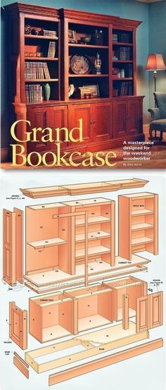Grand Bookcase Plans - Furniture Plans and Projects | WoodArchivist.com #artsandcraftsfurniture,