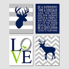 Baby Boy Nursery Art  Chevron Deer Be A Superhero Quote by Tessyla