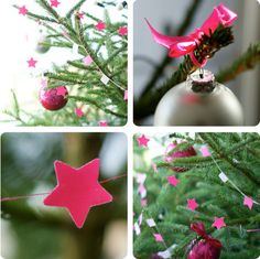 Christmas Tree. Done simply with stars, flags and balls. But with that leap of faith thrown in for good measure by using hot pink, white and silver. Inspiring.