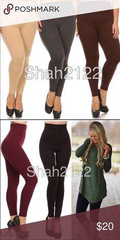 "one size Plus Size High waist fleece lined legging ONE SIZE plus size High waist FLEECE LINNED Tummy tuck control leggings. Stretch to fit (Plenty of stretch). Thick not opaque or see through. 5"" wide High waisted band to contour and shape; smoothes out any bulging around waist.Perfect fit, solid, basic essential leggings.  Polyester, spandex blend. TAG OS best fits (14-20) Measurements: Length 39 / Inseam 26 / Rise 12-13 / Hips 29-43 / Waist 23-37 ‼️Sizes options added for search purposes…"