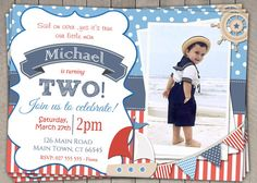 Boys Nautical Theme Birthday by InvitaitonsByLittleP on Etsy Second Birthday Photos, Third Birthday, Printable Birthday Invitations, Nautical Theme, Little Man, Baby Cards, Thank You Cards, Red And Blue, Birthdays