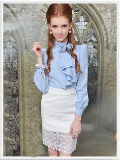 Morpheus Boutique  - Blue Rose Chiffon Long Sleeve Ruffle Shirt