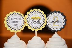 Taxi Cab cupcake toppers-transportation party-cab-set of 12