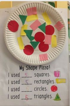 Make a shape pizza to practice shapes! Math for kindergarten Make a shape pizza to practice shapes! Math for kindergarten Preschool Learning, Kindergarten Classroom, Kindergarten Activities, Classroom Activities, Teaching Math, Preschool Activities, Teaching Shapes, Shapes For Kindergarten, Preschool Shape Crafts
