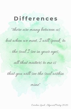 #skywardpoetry #carolinelamb #ourdifferences #differences All That Matters, Soul Searching, My Poetry, Words, Life, Horse