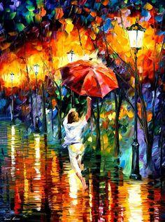 Leonid Afremov - O artista plástico se inspira na chuva, pinta ruas ou parques com calçadas molhadas e pessoas segurando um guarda-chuva