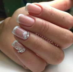 Stunning French nails for ladies - DarlingNaija Bridal Nail Art, Bride Nails, Wedding Nails Design, French Tip Nails, Beautiful Nail Designs, Manicure And Pedicure, Pedicure Ideas, Toe Nails, Nail Nail