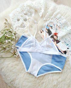 18da8edc9718 BLUE and WHITE LINGERIE set ~ Bridal lingerie set, mesh bikini, sheer  bralette,