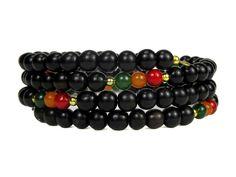 Ebony Wood Beads w/ Rasta Color Jade Beads Memory Wire Bracelet #bc194 by CycleofLifeDesign on Etsy