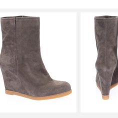 """Stuart Weitzman Taupe Ankle Wedge Stuart Weitzman Bootscout suede wedge ankle boot.   3.75"""" heel with .50"""" platform is (comparable to 3.25"""" heel). Perfect condition for preowned no marks in the outside. One of the insoles is a little loose but it's not torn up the insides are in great condition also.  Stuart Weitzman Shoes Ankle Boots & Booties"""