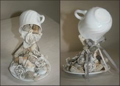 Flying Cup in Shabby Chic style. Used materials: wine corks, pebles, linen roses, lace.