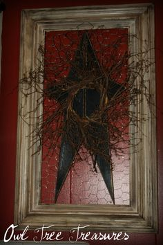 Primitive Framed Star Wall Decor by OwlTreeTreasures on Etsy. Primitive Stars, Primitive Homes, Primitive Crafts, Country Primitive, Wood Crafts, Primitive Bedroom, Primitive Antiques, Rustic Crafts, Frame Crafts