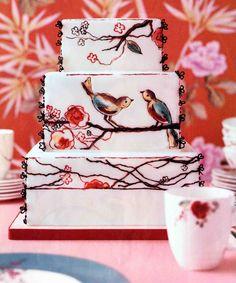 watercolor birds on this cake designed by Kate Sullivan for ovinSullivanCakes, NYC, $1,000, serves 100.