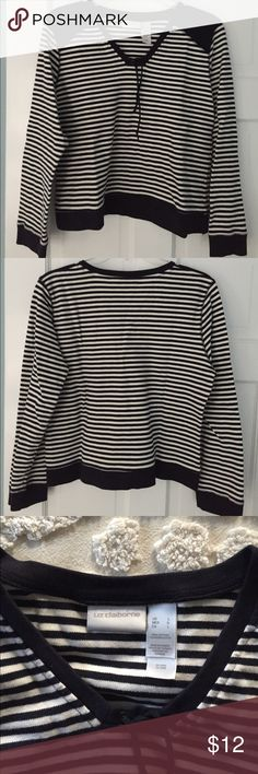 "Nautical style striped pullover top V-neck lace front long sleeve top. Very soft cotton knit. 3/4 sleeves. 20"" bust, 20"" long. Liz Claiborne Tops"