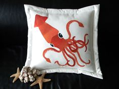 "Colossal Squid 20"" pillow rust color invertebrate kraken calamari tentacles suckers hooks Humboldt giant sea monster Captain Nemo mollusk. $38.00, via Etsy."