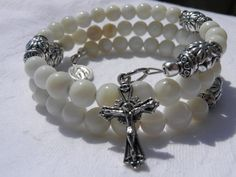 White Sea Shell Five Decade Rosary Bracelet by rosarybraceletwrap5, $45.00