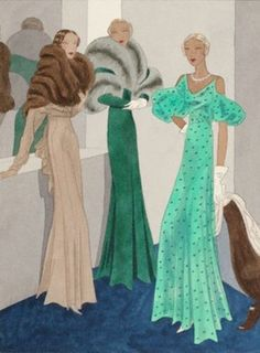 Wool and Silk Gowns - 1932 - Fashion Illustration - by Edward Molyneux - @~ Mlle