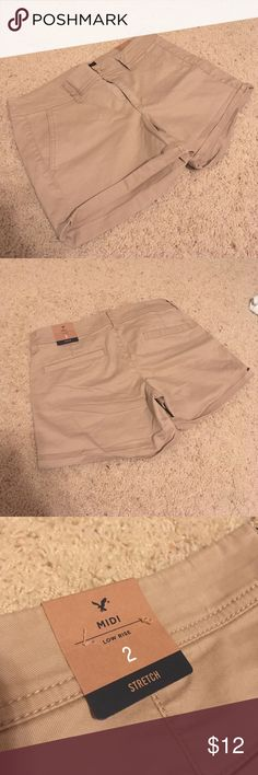 NWT Khaki Shorts Bought these last summer for work but found out they didn't fit dress code. They are super comfortable! American Eagle Outfitters Shorts