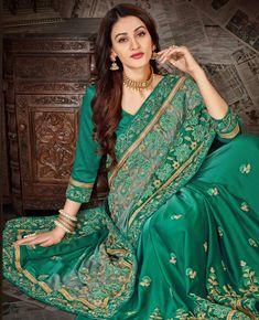 Navyaa Moss Chiffon Saree in Green Wedding Sarees Online, Indian Sarees Online, Netted Blouse Designs, Saree Blouse Designs, Modern Saree, Sari Dress, Trendy Sarees, Designer Sarees Online, Elegant Saree