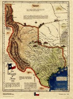 Republic of Texas 1836. Formed as a separate nation after gaining independence from Mexico in 1836, the republic claimed borders that included all of the present US state of Texas as well as parts of present-day Oklahoma, Kansas, Colorado, Wyoming, and New Mexico based upon the Treaties of Velasco between the newly created Texas Republic and Mexico.