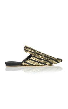 Riga Striped Metallic Slippers by Sanayi 313 | Moda Operandi