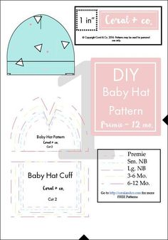 Sew a simple baby hat with this free baby hat sewing pattern. Made with soft and stretchable knit fabric.