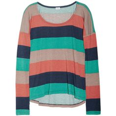 Splendid Striped cotton and modal-blend jersey top ($78) ❤ liked on Polyvore