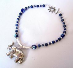 Lapislazuli Good luck elephant Evil eye by Thingsfromtheheart, $52.00
