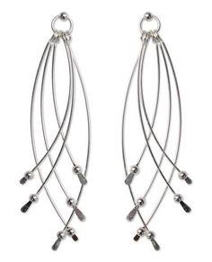 Sterling silver crossed hammered wire earrings by