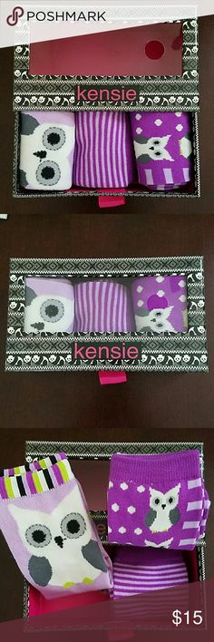 New Kensie Socks New In Box Kensie Women's Socks. Adorable Patterns. Great Gift for Someone who Loves Owls! The Box is A Little Drawer that Pulls Out. Standard Size Socks. Kensie Accessories Hosiery & Socks