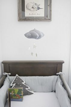 Gray nursery - gender neutral nursery that is a shared room. Love the cloud mobile with stars.