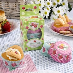 Gorgeous and pretty vintage floral cake cases - an essential for a vintage celebration - cupcakes.  Bake your own and share your vintage delights with family and friends £3.99 x100 from www.fuschiadesigns.co.uk.