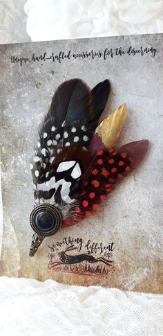 Feather red gold brown hatpin fathers day gift pin for fedora trilby hamborg hat mens ladies corsage handmade handmade Handmade Christmas Presents, Xmas Gifts, Brooch Corsage, Yellow Feathers, Women's Brooches, Feather Hat, Hat Pins, Pink Brown, Red Gold