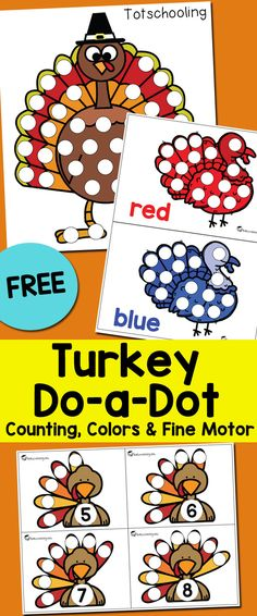 FREE printable Thanksgiving activity for toddlers and preschoolers using dot markers. Featuring turkey themed pages that also work on colors, counting and number recognition. Fun for a Fall preschool math center!