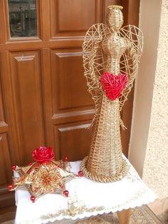 Vianočný anjel a svietnik. Autorka: milka60. Papierové pletenie, paplet, vianoce, vianočná výzdoba. Artmama.sk