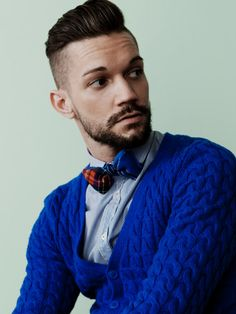Red and Blue Tartan Wool Bow Tie by HandsomeAndLace